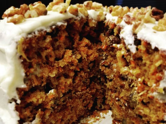 Carrot cake with cream cheese frosting by Lena Vance