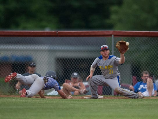 Henderson's Zach Smith catches a ball from the pitcher