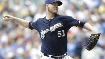 Jimmy Nelson went 11-13 with a 4.11 earned run average in 30 starts in his first full season with the Brewers in 2015.