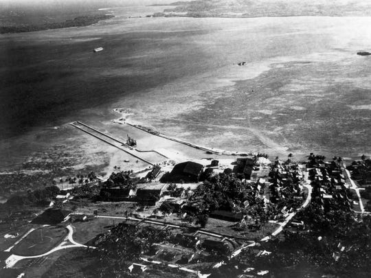 An aerial view of the Naval Station Sumay, pre-war.