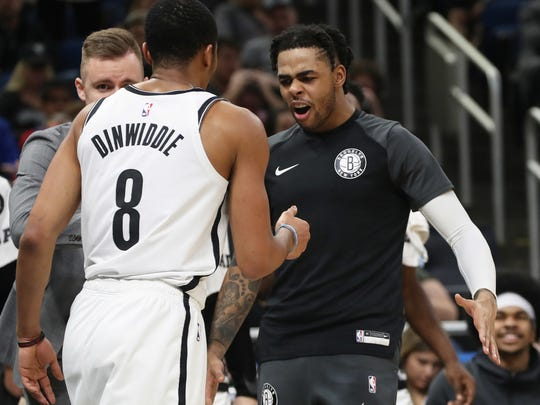 Nets guards D'Angelo Russell and Spencer Dinwiddie.