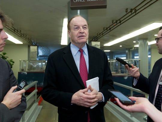 Sen. Richard Shelby, R-Ala., speaks with the media