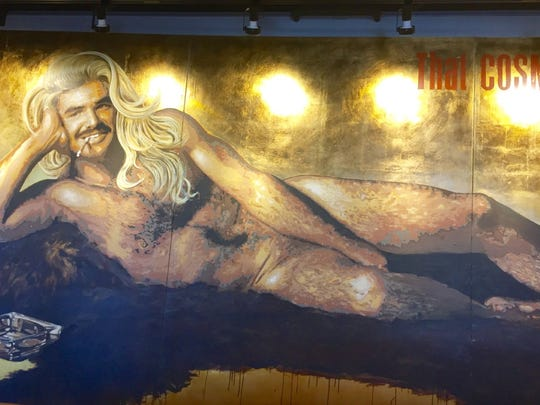 "A re-creation of the iconic Burt Reynolds centerfold in ""Cosmopolitan"" from 1972."