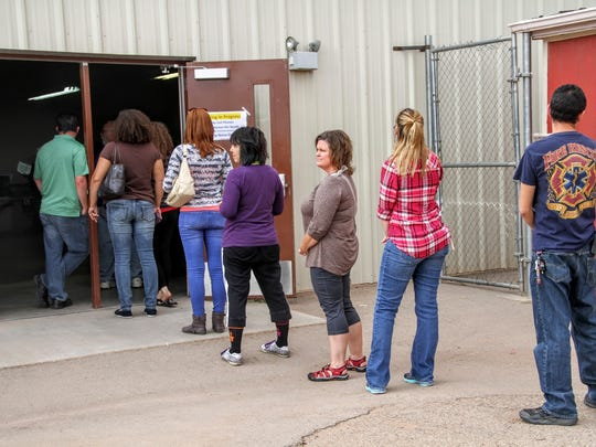 A line of voters formed outside the Otero County Fairgrounds, 401 Fairgrounds Road, Friday afternoon.