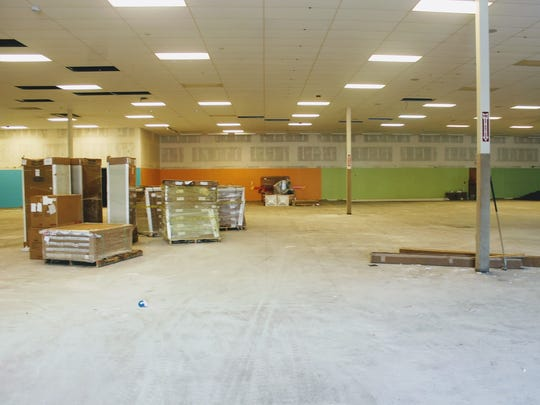 The former Hastings building is currently being renovated to house Burkes Outlet which is still in business at White Sands Mall.