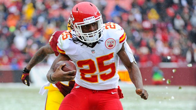 Chiefs RB Jamaal Charles led the NFL with 19 TDs in 2013.