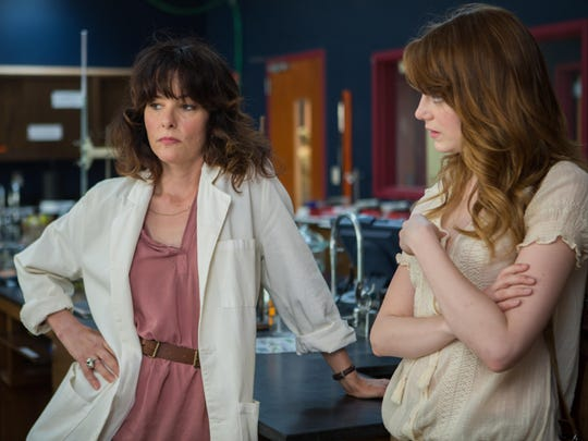 Parker Posey, left, and Emma Stone in a scene from