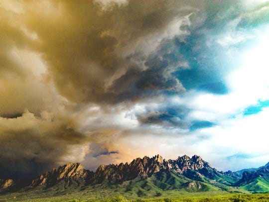 The Organ Mountains seen on a stormy day in Las Cruces,