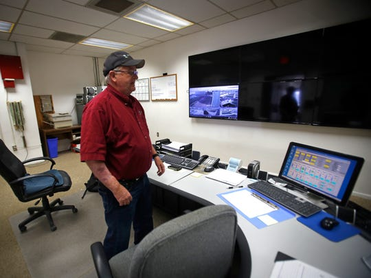 Plant Manager Bob Fredriksen shows the control room Friday at Water Treatment Plant No. 1 in Farmington.