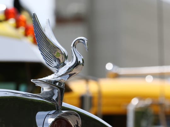 The hood ornament on a 1985 Peterbilt featured at the American Truck Historical Society National Convention and Truck Show on Saturday, May 28, 2016, at the Oregon State Fairgrounds.