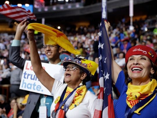 New Mexico delegates cheer during the first day of the Democratic National Convention in Philadelphia , Monday, July 25, 2016.