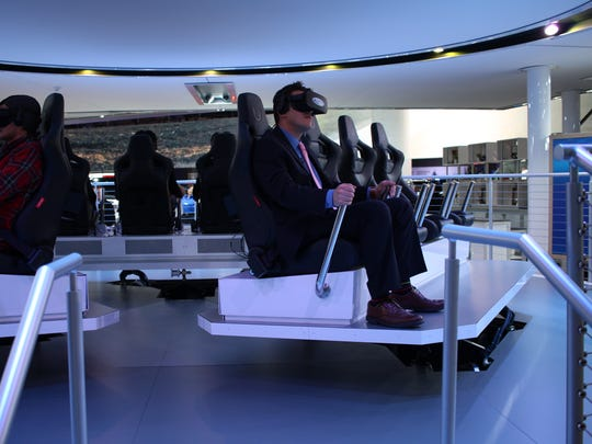The Ford Future Mobility VR Experience takes participants through a 4.5-minute presentation that shows off Ford's vision for the future inside the North American International Auto Show showroom on Jan. 10, 2016 at Cobo Center in Detroit.