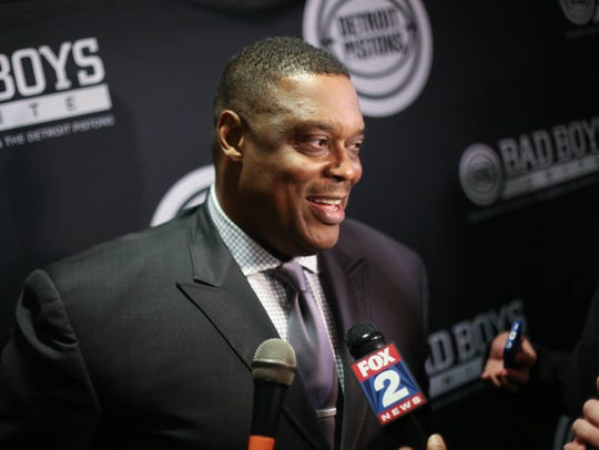 Former Pistons big man Rick Mahorn talks during the