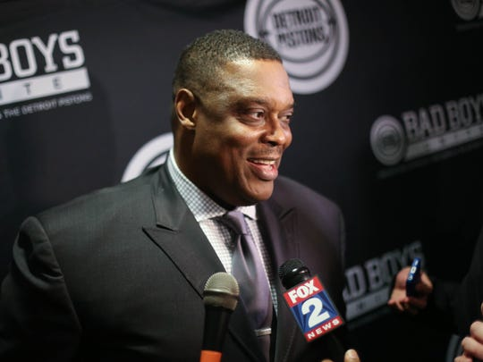 Former Pistons big man Rick Mahorn talks during the 'Bad Boys Unite' charity event March 27, 2014 at the Westin Book Cadillac in Detroit. The event happened the day before the 25-year 'Bad Boys' reunion at the Palace.