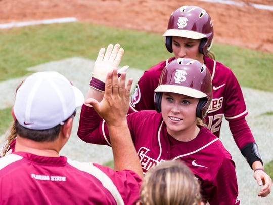 Florida State sophmore Dani Morgan (1) celebrates her homer during  Seminoles 8-5 victory over Georgia on Sun. May 21, 2017 during the NCAA Tallahassee Regional at JoAnne Graf Field in Tallahassee, FL.
