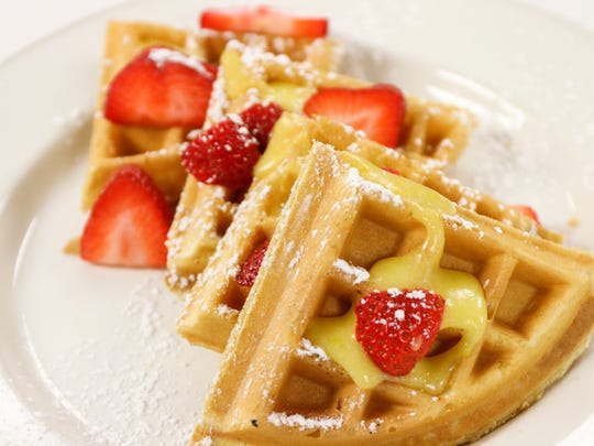 The all-you-can-eat brunch buffet at the State Room includes waffles, fruit, international cheeses, chilled salads, a meat carving station, a dessert tray and more.