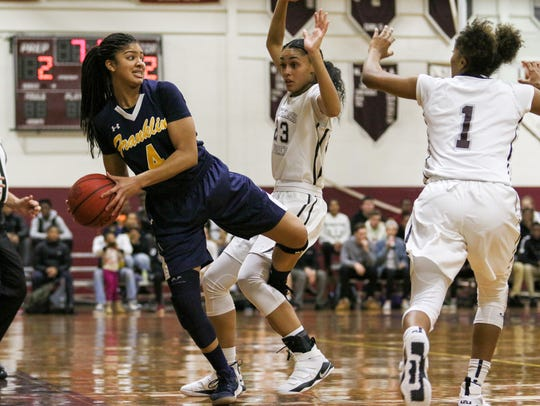 Franklin's Camille Gray looks to pass the ball as Rutgers