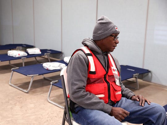 American Red Cross volunteer Milton Bradford waits for people to arrive at the warming center set up at the Fulton Volunteer Fire Department on Tuesday, Jan. 16, 2018. The center was set up by the American Red Cross in coordination with the Texas Department of Emergency Management for those who may be impacted by the arctic cold front with freezing conditions, including freezing rain.