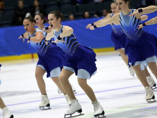 Team Delaware performs during the junior Eastern Synchronized Sectional Championships at Germain Arena on Saturday, Jan. 20, 2018.