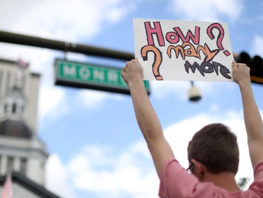 Students seen here rallying in Tallahassee, Florida. Students in Central Jersey are planning to walkout of classes on March 14 in solidarity with Parkland, Florida shooting survivors.