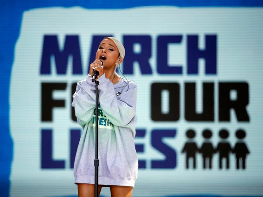"Ariana Grande performs ""Be Alright"" during the ""March for Our Lives"" rally in support of gun control, Saturday, March 24, 2018, in Washington."