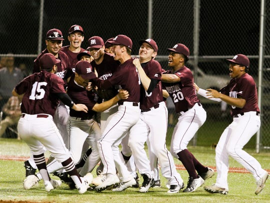 Morristown celebrates a 2-0 win against Delbarton at