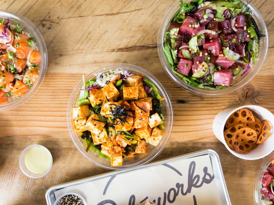 "Pokeworks offers eight signature bowls (called ""works"") or the pick your own way option of customizing. Diners choose a bowl, burrito or salad to fill with protein, mix-ins, sauces, toppings and texture."