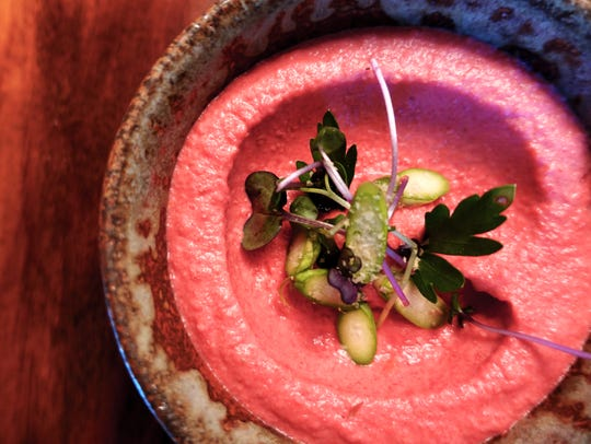 This is the beet hummus from Muse and Market restaurant