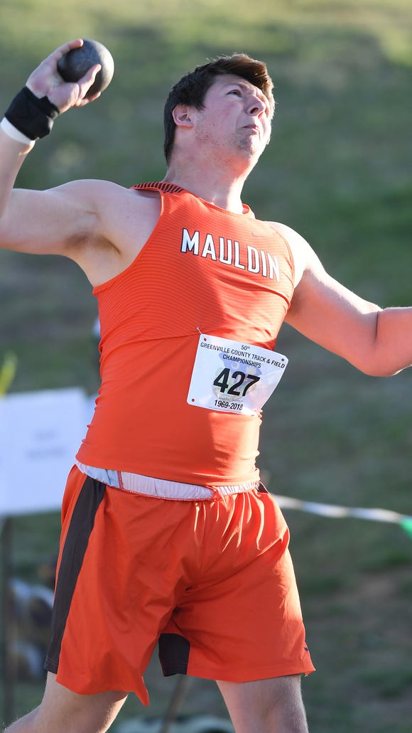 Mauldin's Logan Carroll competes in the shot put during day two of the Greenville County Track and Field Championships at Eastside High on Tuesday, April 17, 2018,