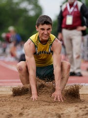 Freedom's Caden Hofacker lands his jump in the division