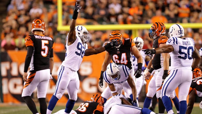 Indianapolis Colts outside linebacker Curt Maggitt (92) celebrates after causing a fumble by the Cincinnati Bengals during the first half of the game against the Bengals at Paul Brown Stadium on Thursday, September 1, 2016.