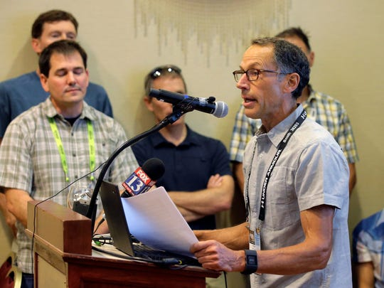 Peter Metcalf, of Black Diamond Equipment speaks during a news conference Thursday, Aug. 4, 2016, in Salt Lake City. A coalition of outdoor sports companies in Salt Lake City for a major industry expo voiced their support for a proposed national monument in southeastern Utah that has become a flashpoint in the debate over public lands in the West. Company leaders from a group that included The North Face, Patagonia, Rossignol and Black Diamond said at a Thursday news conference that preserving open spaces is paramount to keeping their industry vibrant. (AP Photo/Rick Bowmer)