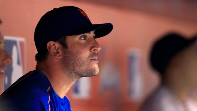New York Mets starting pitcher Matt Harvey in the dugout in the eighth inning of  a game against the Miami Marlins at Marlins Park. The Mets won 7-0.