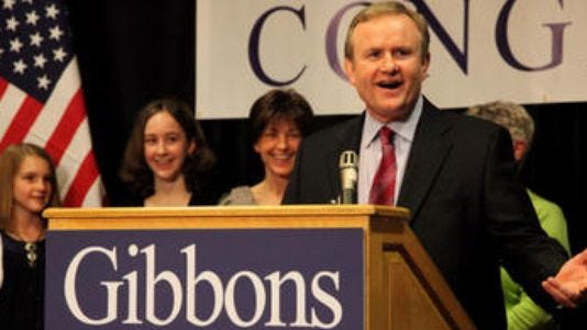 Jim Gibbons thanks his supporters on Jun 8, 2010 and extends his support to Brad Zaun after coming up short in votes for district 3. His daughters, Grace, and Genna, and wife Anne, stand behind him.