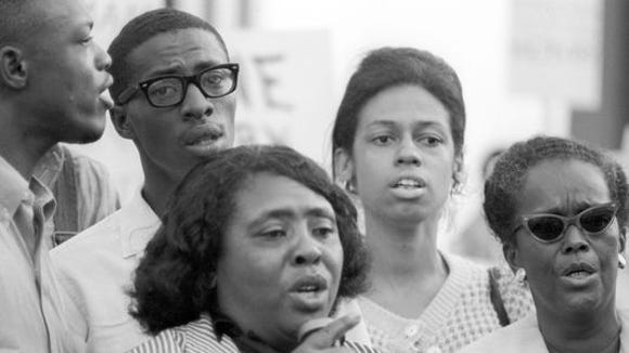 Civil rights leader Fannie Lou Hamer sings outside the 1964 Democratic National Convention in Atlantic City, New Jersey.