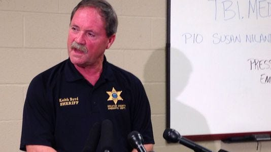 Decatur County Sheriff Keith Byrd speaks Monday night at the press conference where the Tennessee Bureau of Investigation announced that the partial remains found Sunday in Decatur County belonged to Holly Bobo.