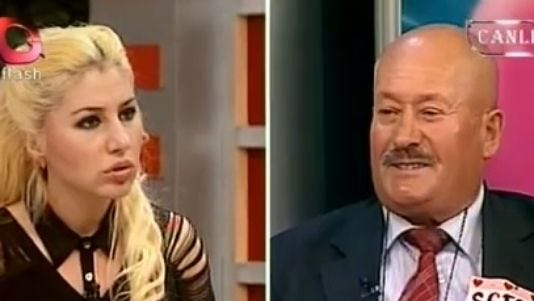 """Sefer Calinak, 62, shocks the host of a Turkish TV dating show """"Luck of the Draw"""" on Flash TV when he reveals he murdered his first wife and years later killed a lover."""