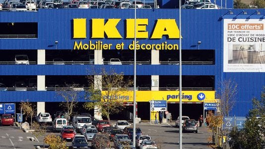 A picture taken on November 28, 2013 in Toulouse shows the parking of an Ikea store.