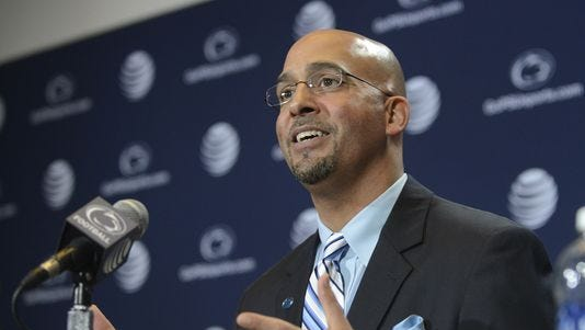 Penn State coach James Franklin speaks during a news conference.