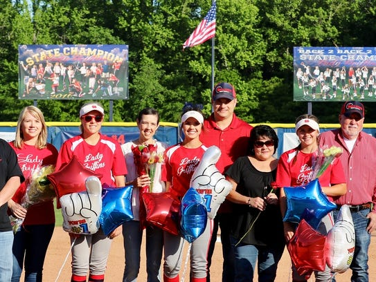The North DeSoto seniors were recognized prior to Monday's