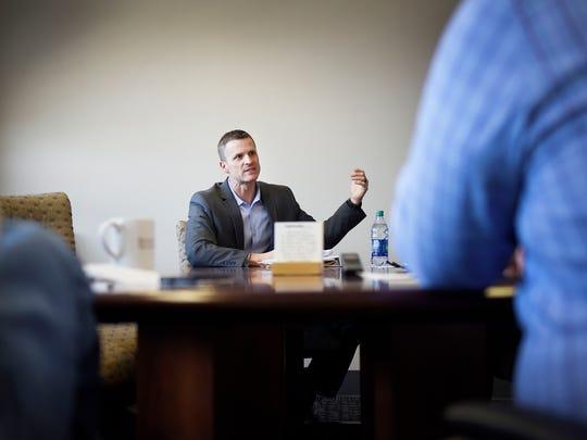 Paul TenHaken speaks with the Argus Leader Tuesday,