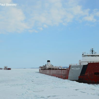 The Roger Blough works through ice in April of 2014  as it nears the St. Mary's River. The ship ran aground in Lake Superior Friday in Whitefish Bay.