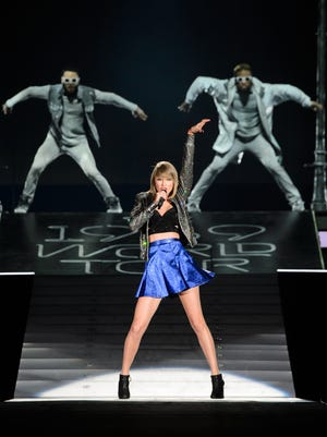 Taylor Swift performs on stage during the 1989 World Tour Live at Ford Field on May 30, 2015, in Detroit.