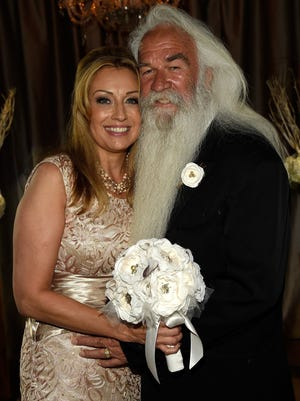 Simone Staley and The Oak Ridge Boys' William Lee Golden were married Saturday at The Rosewall in Nashville.