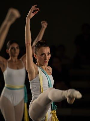 "Louisville Ballet dancer Natalia Ashikhmina in ""Collective Perception"" by choreographer Ashley Thursby with music by Daniel Gilliam, part of the 2015-16 season's Choreographers'' Showcase."