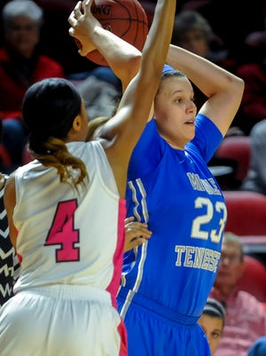 Forward Gabby Lyon (23) looks to pass Thursday, February 25, 2016, under pressure from Western Kentucky's Dee Givens (4) during a game at E.A. Diddle Arena. The Lady Raiders will need Lyon to help win the battle in the paint.