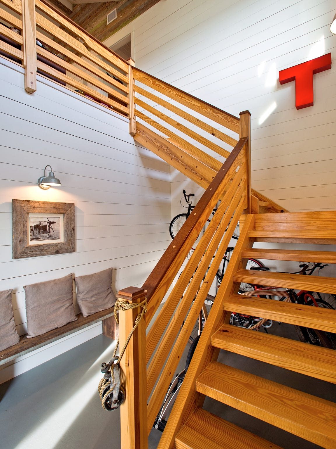 The homeowner/builder's hand crafted stairway from