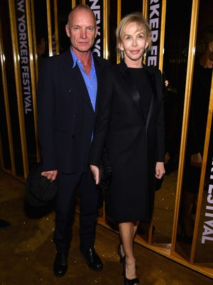 Sting and Trudie Styler attend the The New Yorker Festival 2014 wrap party at the Top of The Standard Hotel on October 11, 2014 in New York City.