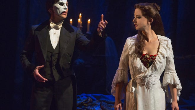 """Chris Mann and Katie Travis in the new production of Andrew Lloyd Webber's """"The Phantom of the Opera."""""""