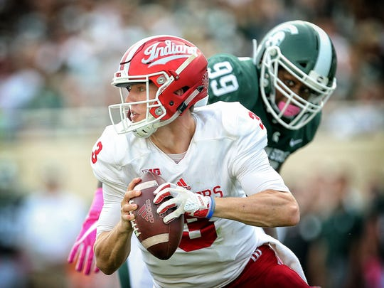 Peyton Ramsey threw for 1,252  yards and 10 touchdowns last  season when the starter was injured.  Mike Carter/USA TODAY Sports Oct 21, 2017; East Lansing, MI, USA; Indiana Hoosiers quarterback Peyton Ramsey (3) gets pressured by Michigan State Spartans defensive tackle Raequan Williams (99) during the first quarter of a game at Spartan Stadium. Mandatory Credit: Mike Carter-USA TODAY Sports